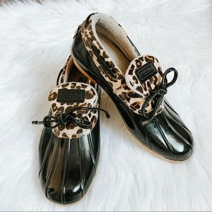 Sperry Topsider Black Leopard Duck Shoes 7